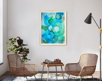 artwork, paper, ocean, water, reef, sea, corals, liquid, blue, aqua green, abstract art, alcohol ink, picture, wall decoration, liquid