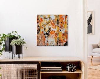 Canvas, artwork, orange, abstract, picture, beautiful wall decoration, bright, liquid, square, modern, expression, beautiful picture, art