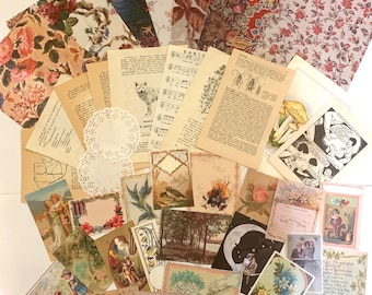 Junk Journal mystery journal kit 40 pcs, grab bag, cottage core, prairie, vintage paper ephemera, scrapbook, floral collage, decoupage paper