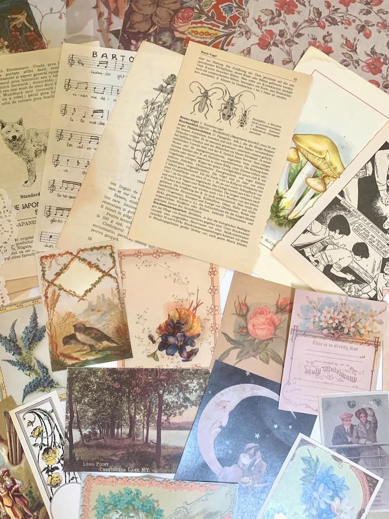 scrapbook grab bag Junk Journal mystery journal kit 40 pcs vintage paper ephemera prairie cottage core floral collage decoupage paper