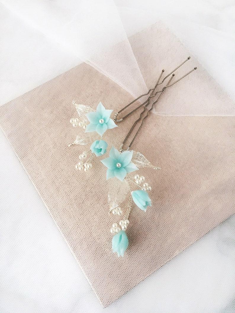 Blue hair pins Set of 2  Flower hair pins Floral hair pins Bridal flowers hairpins Wedding blue hair piece Wedding hairpins
