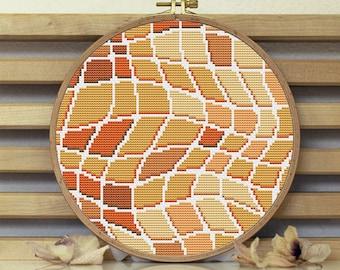 Abstract cross stitch pattern geometric Modern polygonal ornament wall art chart for beginners patterns Funny embroidery cross stitch PDF