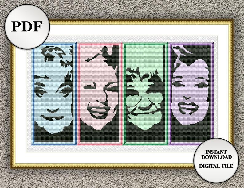 4 in 1 Golden Girls cross stitch pattern Dorothy Rose Cross stitch chart Golden Girls embroidery design wall art PDF Blanche Sophia