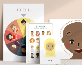 Emotions Mini Bundle Printable • Feelings Poster Chart • PDF Instant Download • Emotional Literacy • Preschool • Toddler • Calm Corner