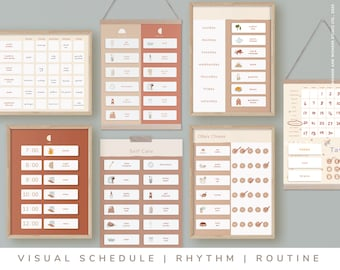Kid's Rhythm and Routine Chart Mega Bundle • Printable Download • Weekly • Monthly • Daily Visual Poster, Kids Schedule (Colour: Terracota)
