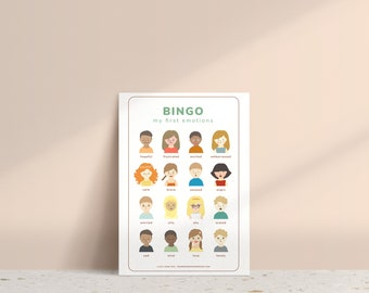 Feelings and Emotions Bingo Cards • Feelings Activity • Bingo Game for Kids • PDF Instant Download • Learning • Printable • Family Game