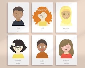 Editable Feelings and Emotions Flash Cards Printable • Multi-Lingual • PDF Instant Download • Preschool • Kindergarten • French • Spanish