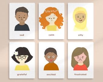 Kids Emotions and Feelings Cards • Feelings Printable • PDF Instant Download • Montessori • Homeschool • Kindergarten • Preschool • School