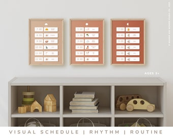 Editable Daily Schedule • Family Routine • Homeschool Schedule • Kids Daily Rhythm • Visual Schedule • Printable Routine Chart Poster