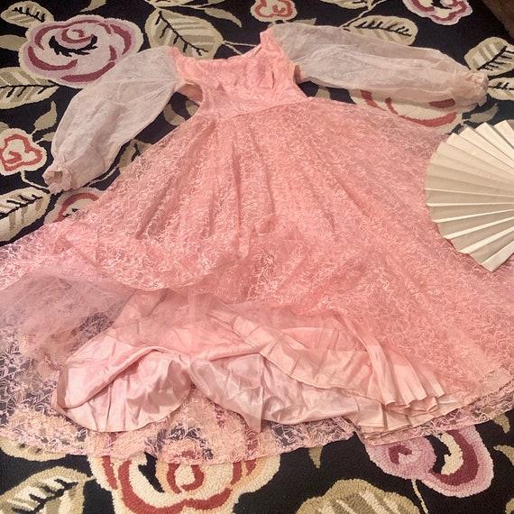 1950s Vintage Pink Lace Fairy Tale Dress