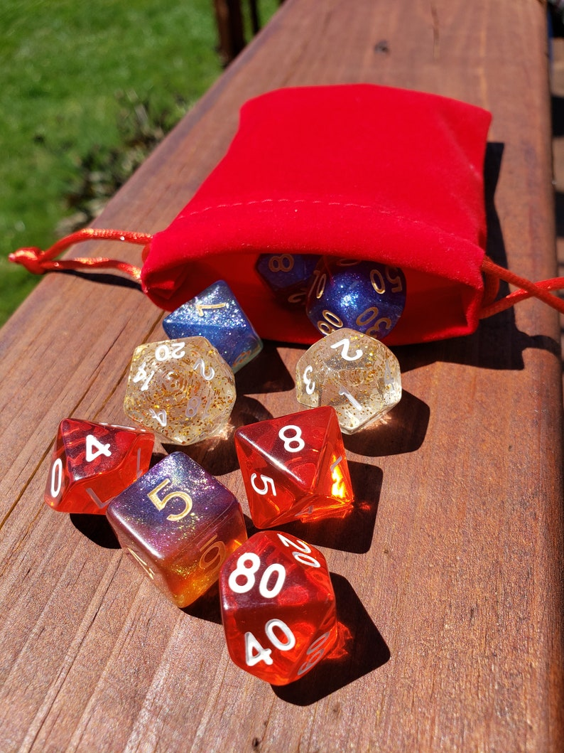Table Top Gaming 7 pc dice set RPG d/&d dnd dice Green Font Will-o/'-the-wisp Purple and Gold Micro Glitter
