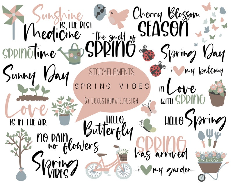 50 Stickers Instagram Spring Vibes Story Stickers Digital Download Spring Storysticker Cherry Blossom Season l English Sticker