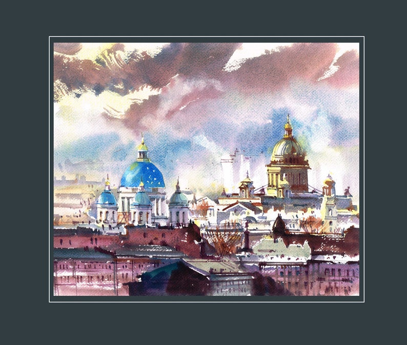 Watercolor Print Central view on St Isaac cathedral and Trinity Cathedral in St Petersburg Urban Landscape Drawing Illustration