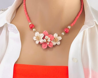 Handmade in the USA Coral and White Flower Necklace