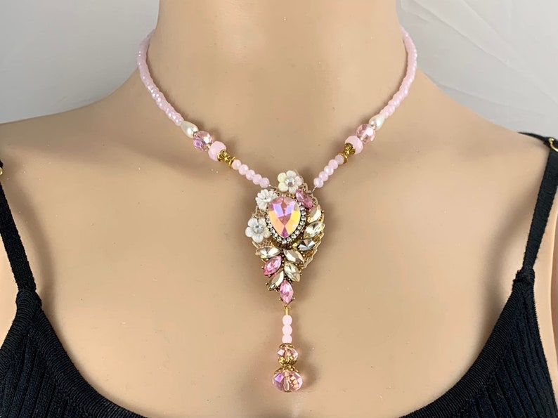 Victorian Leaf Pink Crystal Necklace with Drop Handmade in the USA