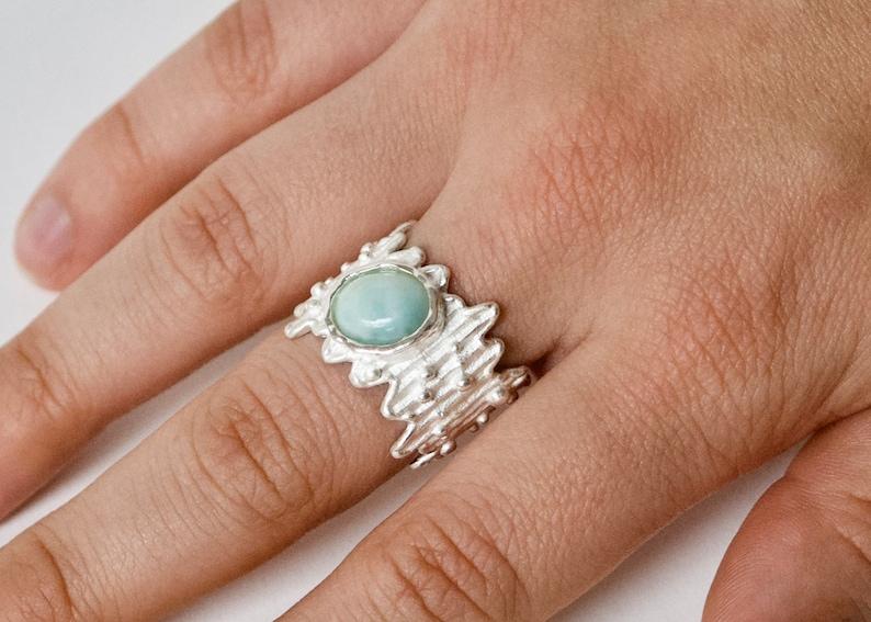 silver matte statement ring blue aragonite ring Ring aragonite