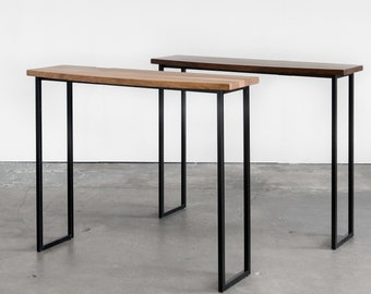 Slim Console Table, Solid Walnut Table Top and Black Steel Legs, Curved Front and Straight Back