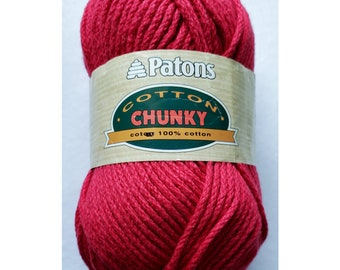 Paton's Cotton Chunky ; 100% cotton ; color red/5221 ; 136 yards