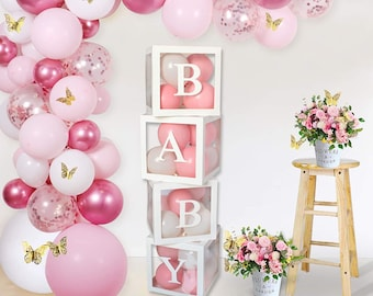 Baby Blocks For Baby Shower Decorations Balloon Baby Clear Boxes with letters, Gender Reveal Decor Boho Baby Shower Decorations