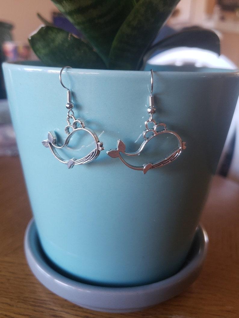 Hollow Silver Whale Earrings