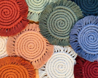 Solid Color Macrame Coasters (Set of 2)