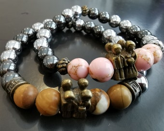volcanic stone hematite and leather bracelet with stainless steel closure. eye of tiger Handmade semi-precious stones