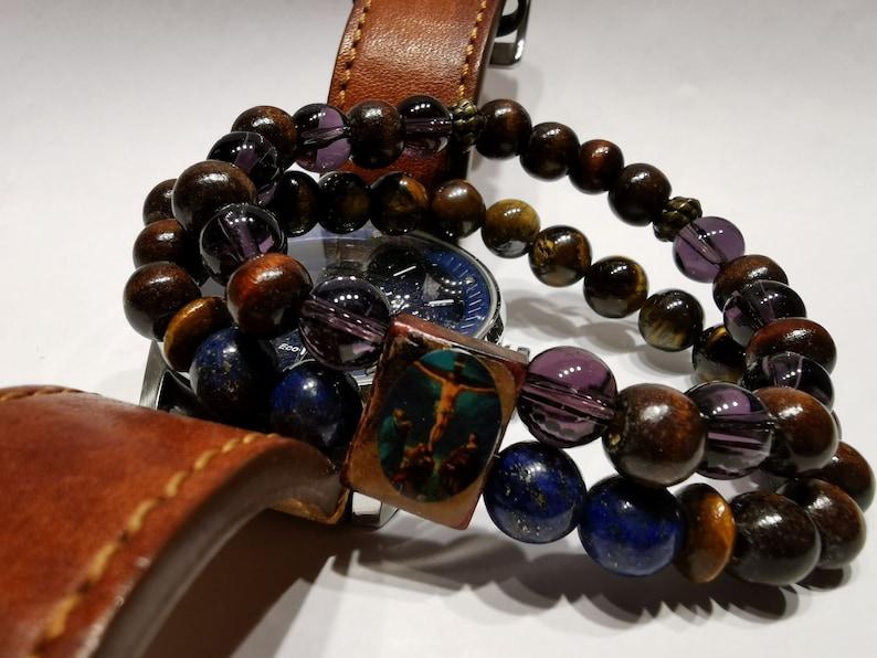 Handmade semi-precious stone and wood with the effigy of Christ bracelet.