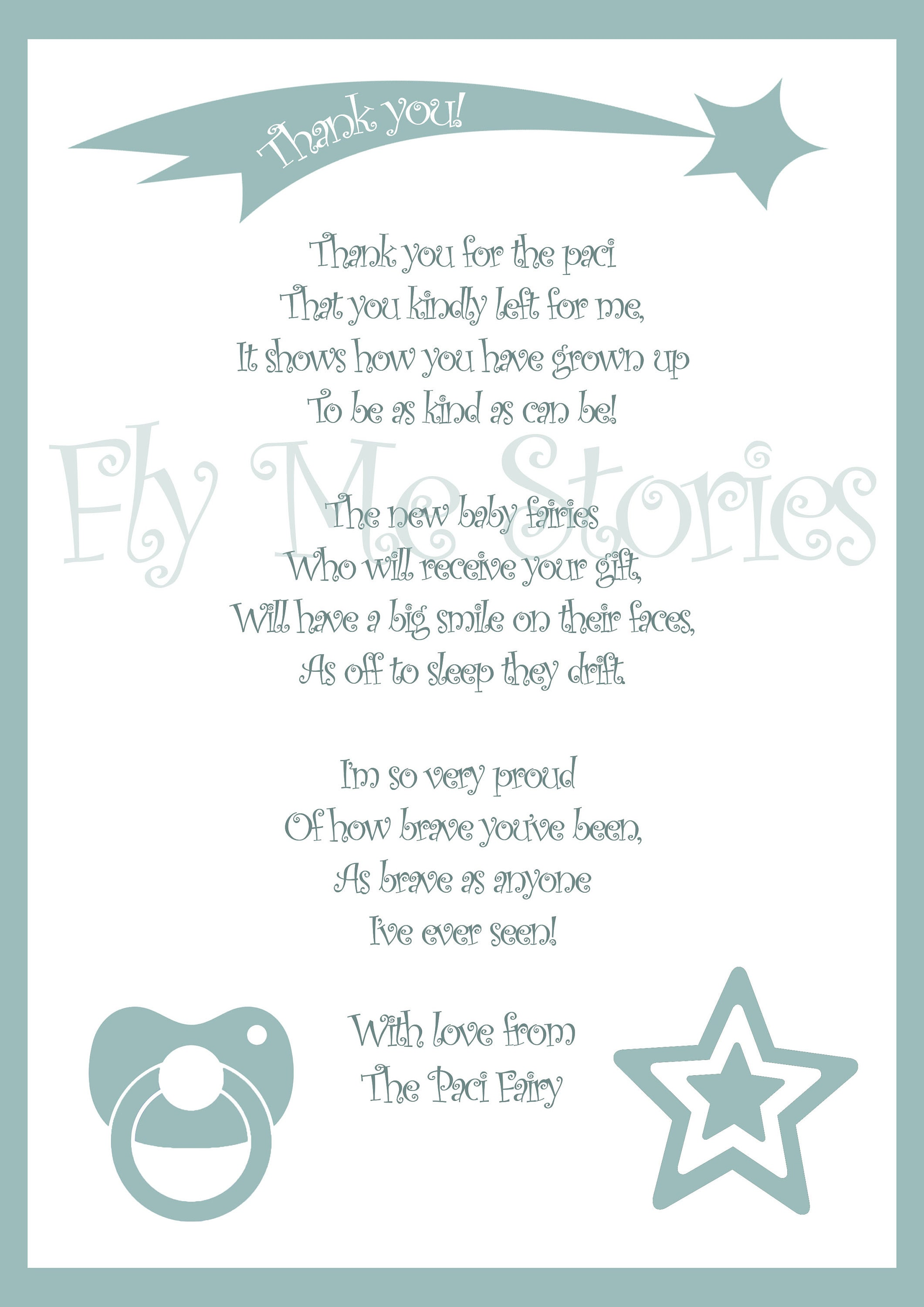 Instant Download Letter From The Paci Fairy Downloadable Paci Etsy
