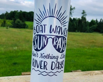 River life travel mug, lake life travel mug, River life tumbler, lake life tumbler, boat hair don't care, custom tumbler, insulated tumbler
