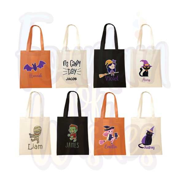 Kids Trick or Treat Bag Personalized Halloween Tote Candy Bag Perfect Halloween Gift Embroidered Bat Design Monogrammed Name