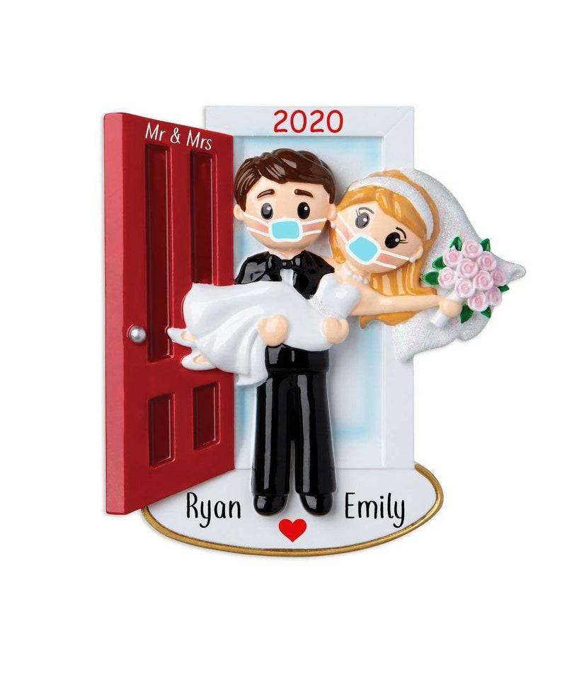 蒙面的Covid婚礼情侣订婚装饰,婚礼图片1