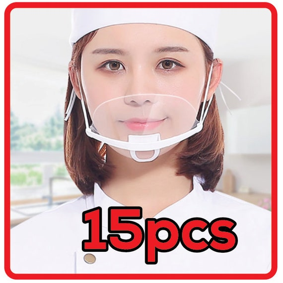15Pcs Clear Safety Mouth Shield Cover Anti-fog Transparent Chef Protector