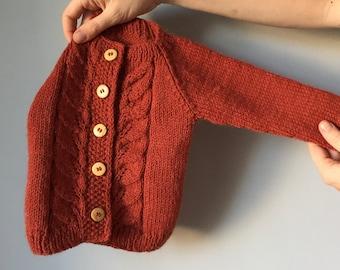 2-3T  ESTONIAN Sheep Wool Kids Sweater Buttoned Sweater Toddlers Soft Warm Sweater Cat Pattern Cardigan 100/% Wool