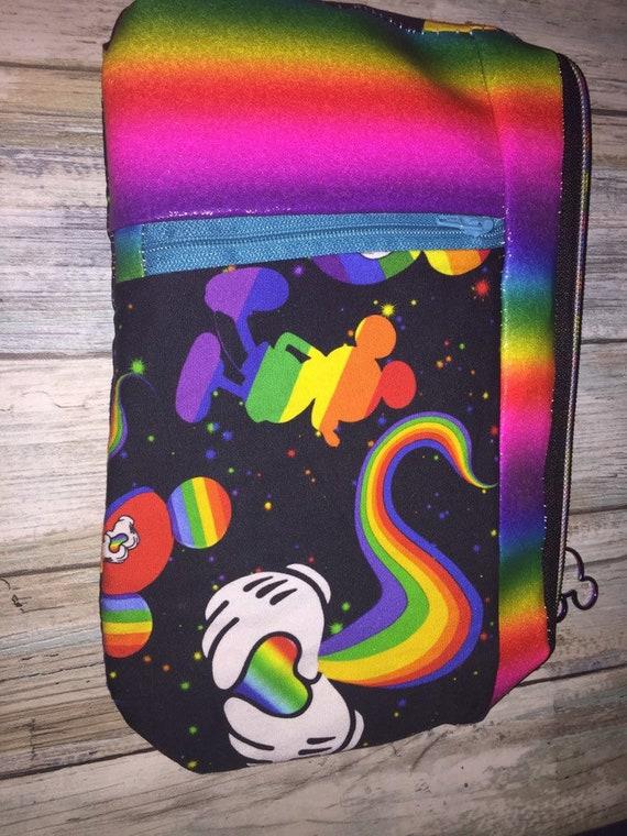 Rainbow Mouse zippy clutch; proud mouse; gay pride; rainbow flag; rainbow hearts; optional wrist strap; Christmas gift ideas