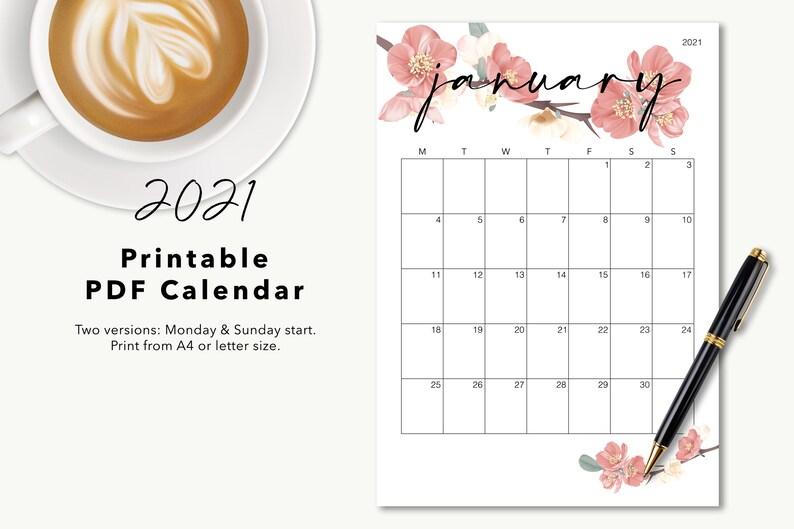 2021 Printable Calendar 2021 Desk Calendar 2021 Wall | Etsy