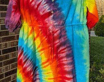 Tie dye dress Size XL Long Cozy Hippie Long sleeve Maternity Fun print Urban fashion Boho Gift Mother Loungewear Teen fashion Party JACKYSS