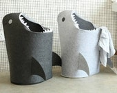 SALE! Shark Attack! Felt DIY Laundry Hamper, Laundry Basket, Toy Storage, Fabric Basket, Storage Bin, Toy Basket, Kids Room Storage Hamper