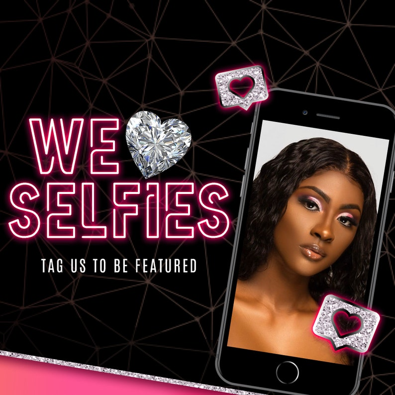 3 Pc facebook flyer instagram flyer Premade Flyer Pink Neon Social media flyer Hair Bundle Selfie Flyer Premade Social media template