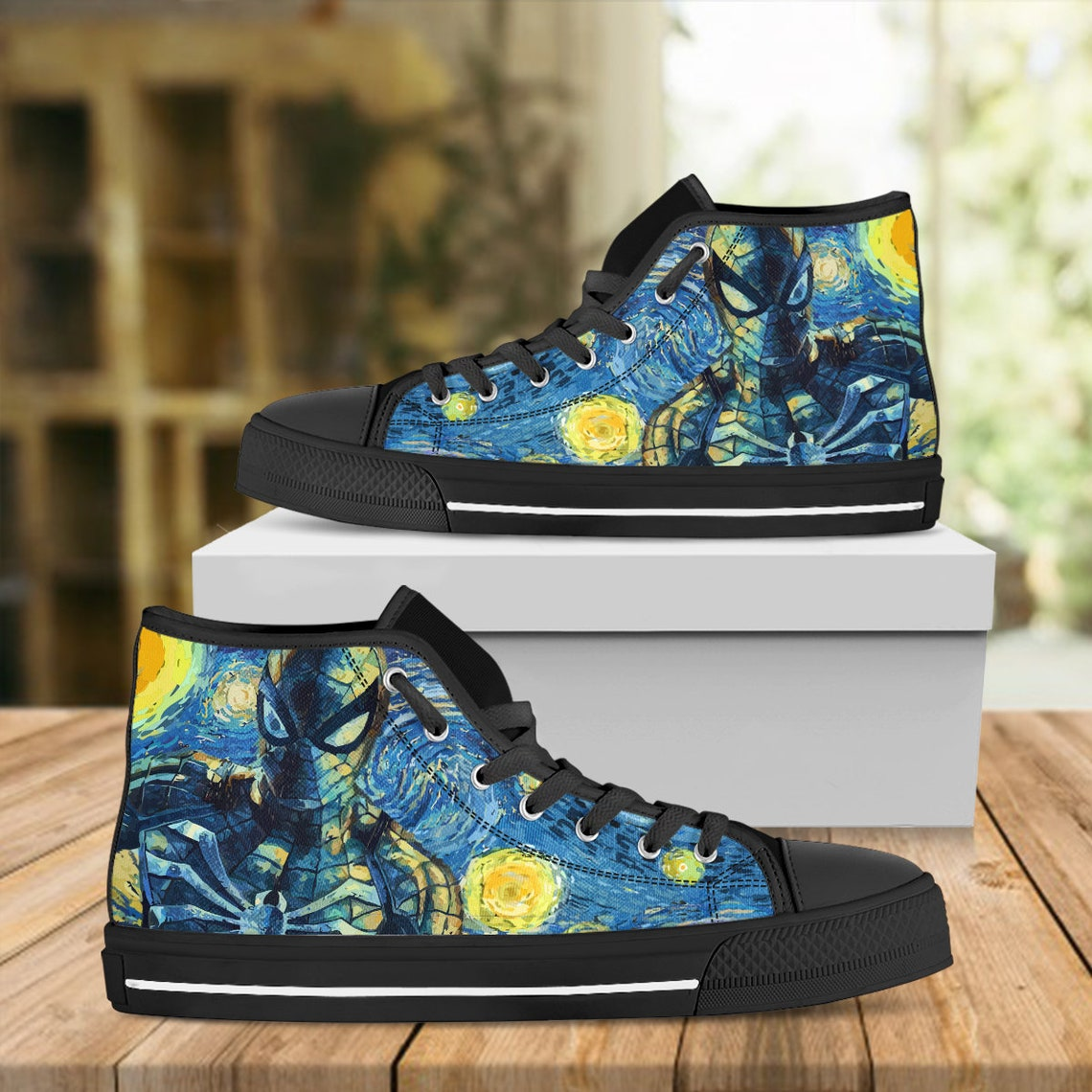Spider Man Starry Night Shoes, Avengers Custom Shoes, Look Like Converse, Custom Shoes, Hi Tops, Inspired By Van Gogh