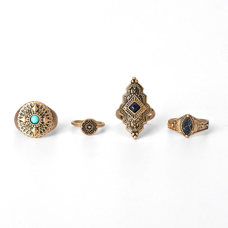 4 Piece Boho Ring Set Patterned Vintage Rustic Bohemian Ring Bohemian Ring for Women