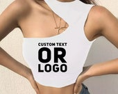 Custom one shoulder crop Top. Custom sports crop top with your text or logo.Personalized crop top