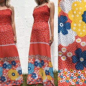 Vintage 90s Y2K Ditsy Floral Daisy Print Button Front Dropped Waist Mini Dress Grunge S uk 10 12