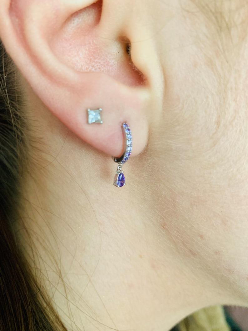 small creoles mini earrings Mini silver creoles set with zircons silver buckles small earrings