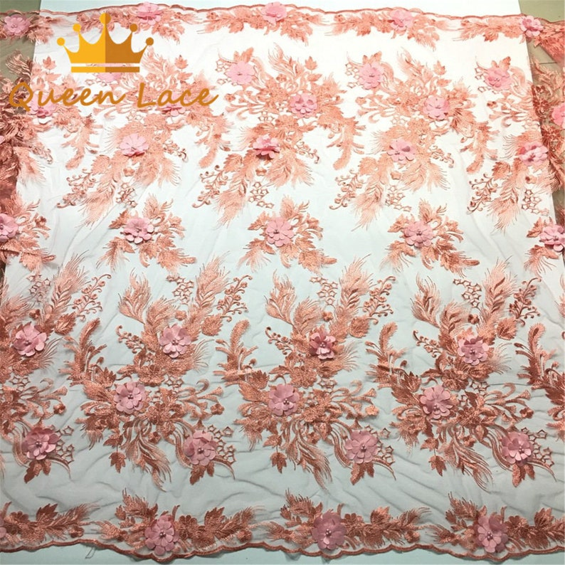 Peach 3D flowers African lace fabric beaded french lace fabric dubai appliques tulle lace bridal weddingparty dress lace 5 yards lot