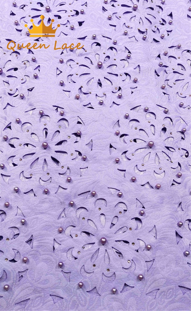 Lilac Dry African Lace Fabric Swiss Voile High Quality Laser Out Nigerian Laces Fabric With Beads And Stones For wedding
