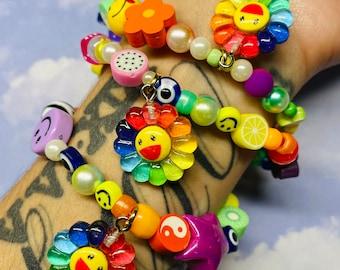 Y2k Smiley Bracelet   Murakami Bracelet   Mismatch Beaded Bracelet   Charm Bracelet   Colorful Bracelet