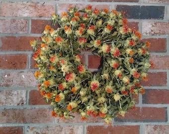 Dried Wreath, Fall Wreath,  Made in Maine, Indoor Wreath