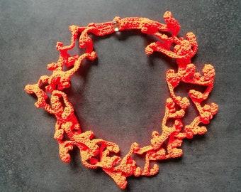 Necklace flowers crochet handmade  crochet summer spring inspired
