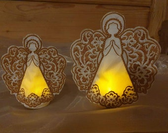 The Monstis Angel Tealight 2 sizes guardian angel Christmas embroidery file