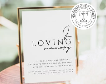 OLIVE Minimalist In Loving Memory Sign 02 Wedding Ceremony Loved Ones in Heaven, Memorial TEMPLETT Personalised Customisable Template OL